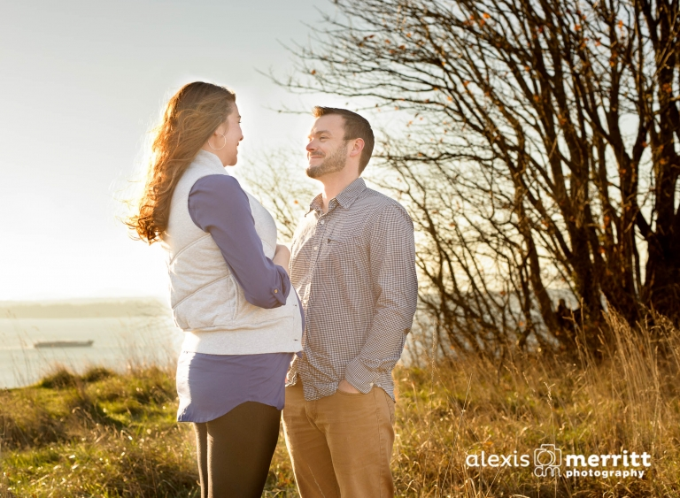 Maternity couple silhouette at Discovery Park in Seattle, WA - Alexis Merritt Photography