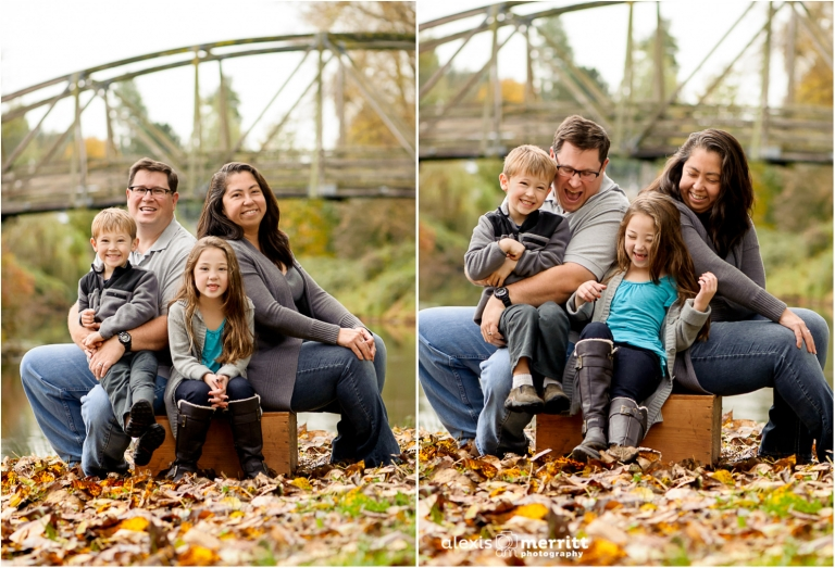 Family of four in fall |Bothell Family Photographer