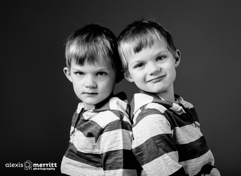 Twin brothers in the studio | Bothell Children Photographer