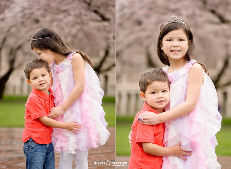 Siblings in Cherry Blossoms   Seattle Child Photographer