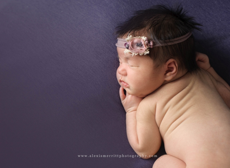 Baby on purple | Bothell Newborn Photographer