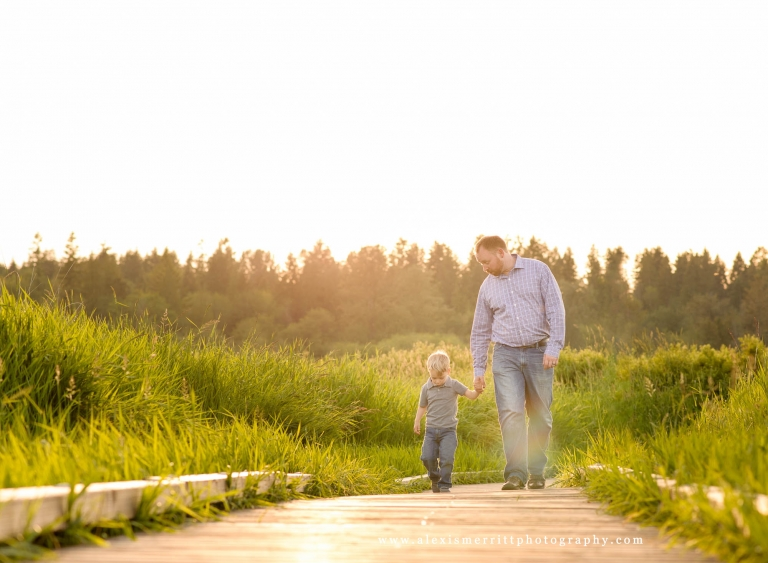 Dad and boy on boardwalk | Bothell family photographer