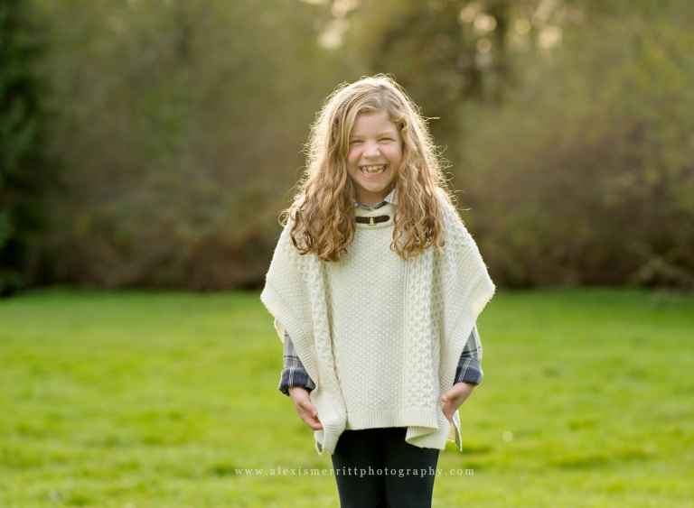 Girl in poncho | Bothell Child and Family Photographer