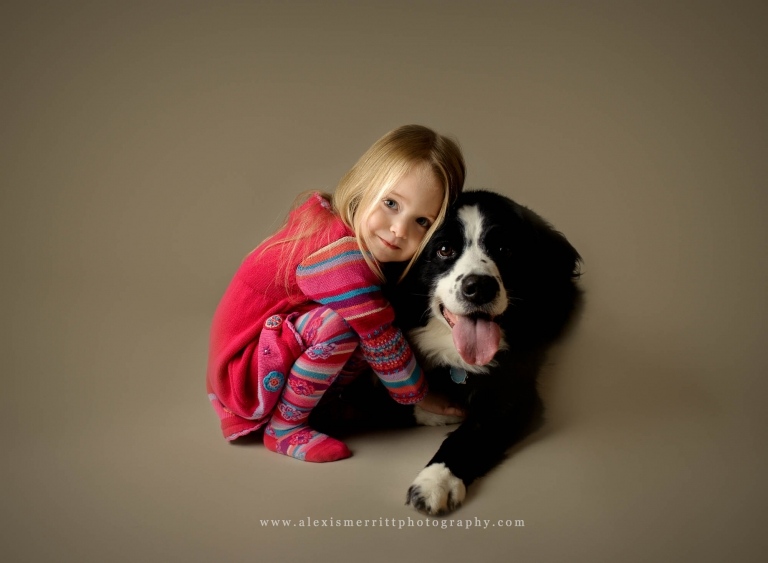 Girl and dog in studio | Bothell family photographer