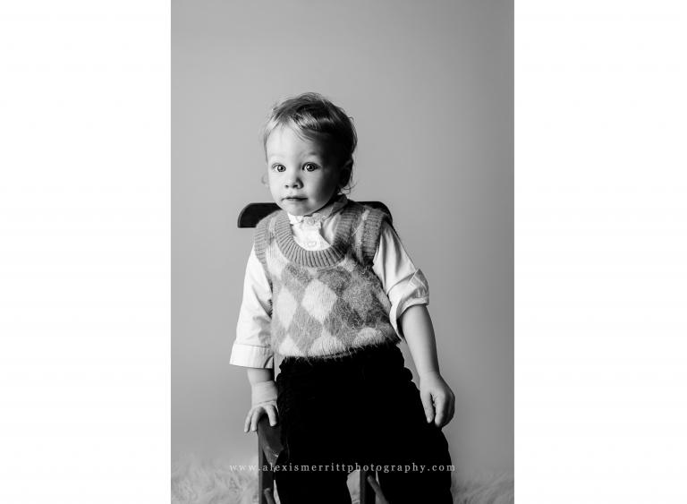 Little boy in chair | Bothell Studio Photographer