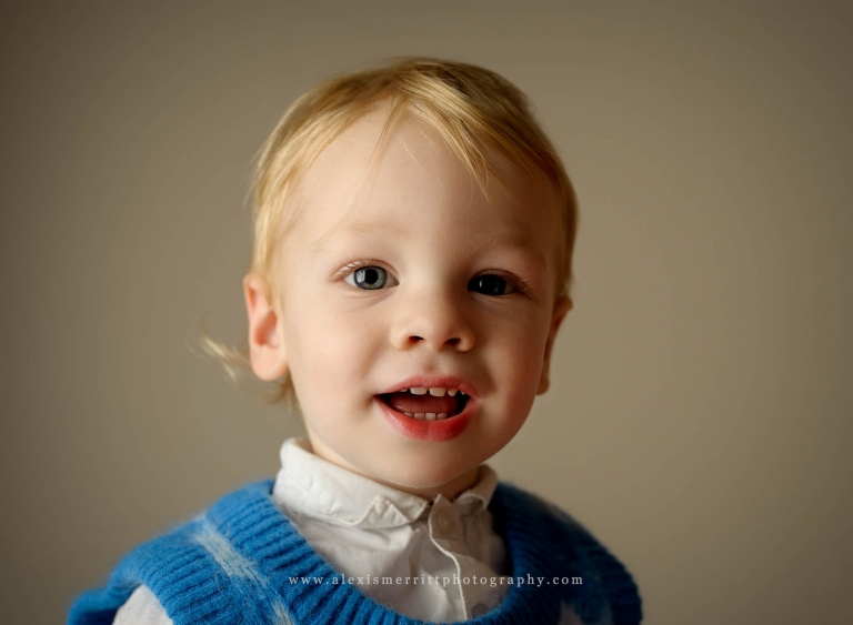 Close up of little boy in studio | Bothell family photographer