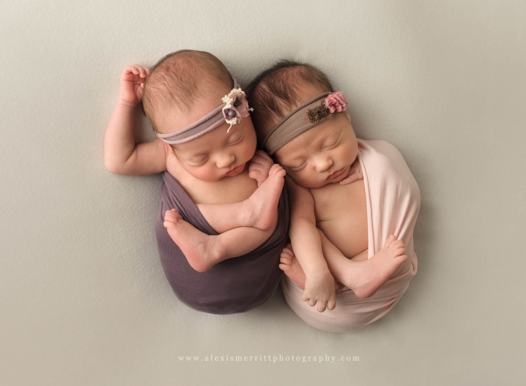 Two baby girls in wraps | Seattle Newborn Twin Photographer