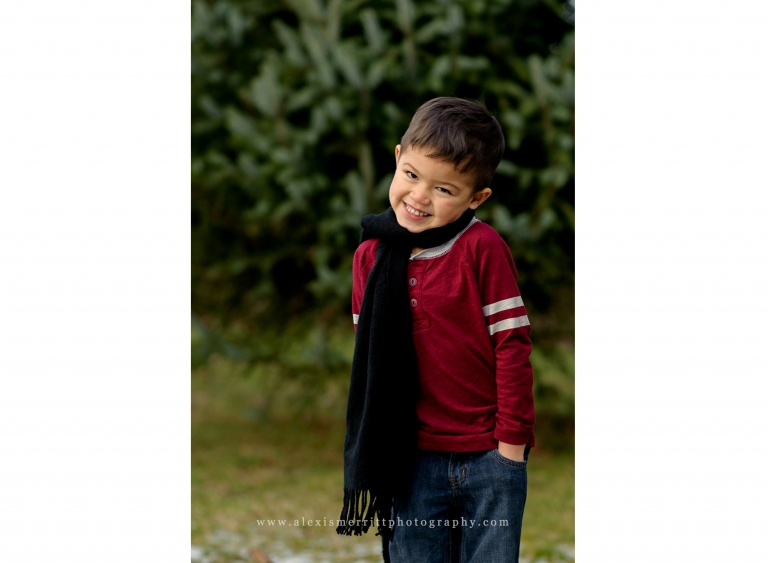 Boy in scarf with evergreen background | Bothell Family Photographer