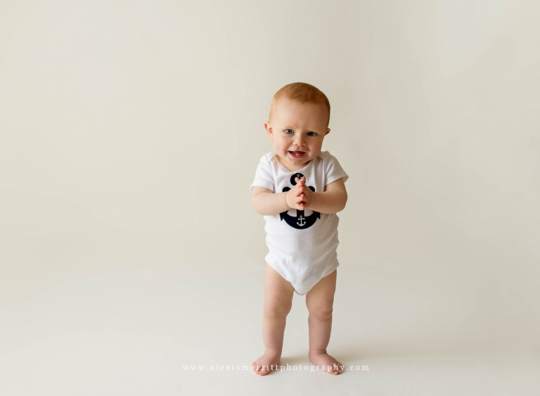 Smiling boy in studio portraits | Bothell Baby Photographer