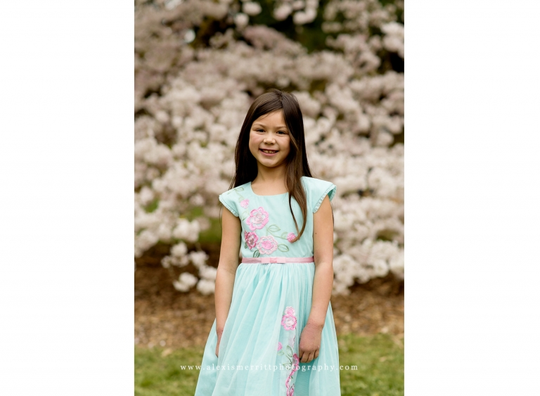 Girl with cherry blossoms | Lynnwood Family Photographer | UW Arboretum